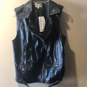 Vegan Leather black vest NWT
